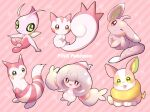 :3 alternate_color brown_eyes celebi closed_mouth commentary_request copyright_name furret gen_2_pokemon gen_4_pokemon gen_5_pokemon gen_8_pokemon green_eyes hattrem highres minccino mythical_pokemon no_humans okoge_(simokaji) one_eye_closed pachirisu pokemon pokemon_(creature) shiny_pokemon smile star_(symbol) toes tongue tongue_out yamper