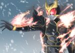 1boy absurdres armor bodysuit commentary_request cycloneactionx fire helmet highres kamen_rider kamen_rider_kuuga kamen_rider_kuuga_(series) kamen_rider_kuuga_(ultimate_form) male_focus open_hand pyrokinesis snow solo upper_body