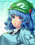 1girl :o aqua_shirt artist_name bangs blue_eyes blue_hair breasts bright_pupils commentary_request droplets eyebrows_visible_through_hair frills gradient gradient_background green_headwear hair_bobbles hair_ornament hat highres kawashiro_nitori key looking_at_viewer medium_breasts medium_hair mononobe_kanako open_mouth pocket shirt simple_background solo touhou two_side_up water white_background white_pupils