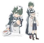 1boy 1girl :o age_difference alternate_costume angry apron bakugou_katsuki bangs black_dress black_legwear blonde_hair boku_no_hero_academia breasts brown_footwear child collared_shirt commentary_request cup dress enmaided frilled_dress frills genderswap genderswap_(mtf) green_eyes green_hair grey_apron hands_on_another's_shoulder holding holding_tray juliet_sleeves kayu_(hinoizurukuni) kneehighs large_breasts long_sleeves maid maid_apron male_focus midoriya_izuku multiple_views necktie puffy_sleeves shirt shoes short_hair short_sleeves shorts simple_background smile suspenders teacup tray white_background younger