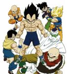 6+boys abs absurdres aqua_hair bald bike_shorts black_eyes black_hair blonde_hair blue_legwear blue_shirt cape chaozu clenched_hands clenched_teeth closed_eyes closed_mouth dougi dragon_ball dragon_ball_z fighting_stance fingernails green_footwear highres indian_style interlocked_fingers kuririn long_sleeves male_focus meditation mudra multiple_boys muscular official_art orange_pants outstretched_arm own_hands_together pants pectorals piccolo pointy_ears red_footwear red_neckwear scar scar_across_eye scar_on_arm scar_on_cheek scar_on_chest scar_on_face scar_on_leg shirt shirtless shoes short_sleeves simple_background sitting sleeveless sleeveless_shirt sneakers socks son_gohan son_goku spiky_hair super_saiyan super_saiyan_1 sweat sweatpants teeth tenshinhan third_eye toriyama_akira training turban v-shaped_eyebrows vegeta white_background white_cape wristband yamcha yellow_shirt