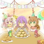 3girls :d :o airani_iofifteen animal_ears ayunda_risu balloon bangs box brown_hair chicken_leg collarbone commentary_request eyebrows_visible_through_hair food gift gift_box gradient_hair green_eyes green_hair green_headwear grey_hoodie hair_between_eyes hair_bobbles hair_ornament hamburger happy_birthday hat highres hololive hololive_indonesia hood hood_down hoodie long_sleeves moona_hoshinova multicolored_hair multiple_girls one_side_up open_mouth parted_lips party_hat pink_hair plate purple_hair rutorifuki shirt sleeves_past_wrists smile squirrel_ears squirrel_girl squirrel_tail stuffed_squirrel tail tilted_headwear upper_teeth v-shaped_eyebrows violet_eyes virtual_youtuber white_shirt yellow_headwear