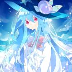 1girl :/ black_headwear blue_hair bow bowtie center_frills closed_mouth clouds day food frills fruit hair_between_eyes hat hat_ornament highres hinanawi_tenshi long_hair long_sleeves nikorashi-ka outdoors peach red_eyes red_neckwear shirt sky solo touhou upper_body very_long_hair white_shirt
