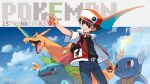 1boy anniversary badge bangs baseball_cap belt black_shirt blanco026 brown_eyes brown_hair charizard closed_mouth clouds commentary_request copyright_name fire flame gen_1_pokemon hat highres holding holding_poke_ball ivysaur jacket male_focus pants pointing poke_ball poke_ball_(basic) pokemon pokemon_(creature) pokemon_(game) pokemon_rgby red_(pokemon) shirt sky wartortle