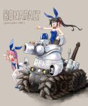 2girls black_hair bonaparte_(tank) cannon commentary_request dominion english_text engrish_text gatling_gun ground_vehicle gun highres katahira_masashi lights machine_gun machinery military military_vehicle motor_vehicle multiple_girls pink_hair playboy_bunny pointing police ponytail ranguage science_fiction sketch tank weapon