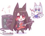 2girls akagi_(azur_lane) akagi_(muse)_(azur_lane) animal_ear_fluff animal_ears azur_lane black_skirt blue_eyes blue_skirt brown_hair cable chibi electric_guitar fox_ears fox_tail glowstick guitar headset highres instrument japanese_clothes kaga_(azur_lane) kashimu kimono kitsune kyuubi long_hair multiple_girls multiple_tails musical_note necktie open_mouth red_eyes red_neckwear shirt short_hair simple_background skirt skirt_under_kimono speaker tail white_background white_hair white_kimono white_shirt white_tail