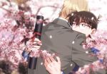 2boys amuro_tooru bangs black-framed_eyewear blazer blonde_hair blue_eyes blue_jacket blurry blurry_background branch brown_hair cherry_blossoms commentary_request diploma edogawa_conan facing_away falling_petals flower formal glasses graduation grey_jacket grey_suit hair_between_eyes highres holding hug jacket k_(gear_labo) long_sleeves male_focus meitantei_conan multiple_boys older petals pink_flower school_uniform short_hair suit teitan_high_school_uniform tube upper_body what_if
