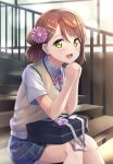 1girl :d alternate_hairstyle arm_rest b.ren bag bangs beige_vest black_skirt blush charm_(object) collar collared_shirt dust_particles eyebrows_visible_through_hair flower green_eyes hair_between_eyes hair_bun hair_flower hair_ornament hairclip highres indoors light_particles looking_at_viewer love_live! love_live!_nijigasaki_high_school_idol_club neck_ribbon open_mouth pink_flower pink_neckwear pink_ribbon pink_scrunchie pleated_skirt polka_dot polka_dot_scrunchie railing redhead ribbon school_bag school_uniform scrunchie shirt short_sleeves side_bun sitting sitting_on_stairs skirt smile solo stairs sunset uehara_ayumu vest white_collar window