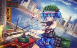 1girl adapted_costume bandaid bandaid_on_face bangs bare_shoulders blue_eyes blue_hair blue_nails bright_pupils building cityscape clouds cyberpunk cyborg day dutch_angle electricity feet_out_of_frame glint green_headwear hair_between_eyes hair_bobbles hair_ornament hakurei_fling hat highres kawashiro_nitori looking_ahead nail_polish outdoors parted_lips reflection rocket_launcher serious short_hair sky skyscraper solo standing touhou two_side_up v-shaped_eyebrows water weapon