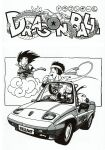 3boys absurdres animal arm_support arms_at_sides bald bandana black_eyes black_hair car chinese_clothes clenched_hands closed_mouth clothes_writing convertible copyright_name dougi dragon_ball dragon_ball_(classic) driving eye_contact facing_viewer fingernails flying flying_nimbus greyscale ground_vehicle halftone hand_up happy highres index_finger_raised kuririn license_plate looking_afar looking_at_another looking_down looking_up messy_hair monkey_tail monochrome motor_vehicle multiple_boys neckerchief nyoibo official_art open_mouth pointing profile puar rear-view_mirror son_goku standing steering_wheel tail talking teeth toriyama_akira upper_teeth wristband yamcha