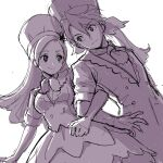 1boy 1girl bow brother_and_sister camembert_chizuko chef_hat chef_uniform dress eyebrows_visible_through_hair forehead greyscale hair_bow hat highres julio_(precure) kirahoshi_ciel kirakira_precure_a_la_mode lineart locked_arms long_hair long_jacket looking_at_another monochrome neckerchief older ponytail precure short_sleeves siblings simple_background sketch smile toque_blanche twins upper_body white_background
