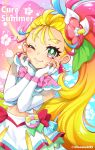 1girl ;) blonde_hair blush character_name closed_mouth cure_summer earrings elbow_gloves fingerless_gloves flower gloves green_eyes hair_flower hair_ornament head_rest highres jewelry long_hair looking_at_viewer magical_girl midriff multicolored_hair natsuumi_manatsu navel one_eye_closed pink_hair precure see-through side_ponytail skirt smile solo standing tropical-rouge!_precure twitter_username uta_(yagashiro25) very_long_hair white_skirt