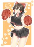 1girl :3 adapted_costume bangs black_eyes black_shirt black_skirt blush border bow breasts brown_hair cat cheerleader commentary_request cookie_(touhou) cowboy_shot crop_top eyebrows_visible_through_hair frilled_bow frills gnzy hair_between_eyes hair_bow hair_tubes hakurei_reimu highres holding holding_pom_poms looking_at_viewer maru_(cookie) medium_breasts midriff miniskirt navel open_mouth orange_background outside_border paw_print_background pom_poms red_bow shirt short_hair skirt solo touhou upper_teeth white_border