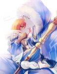 1boy ahoge anina blue_hair brown_hair capelet child closed_mouth cu_chulainn_(fate)_(all) cu_chulainn_(fate/grand_order) fate/grand_order fate_(series) fujimaru_ritsuka_(female) fur-trimmed_hood fur_trim holding holding_staff hood hood_up hooded_capelet long_hair looking_at_another male_focus one_eye_closed orange_hair short_hair simple_background staff wooden_staff younger