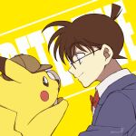1boy black-framed_eyewear blazer blue_eyes blue_jacket bow bowtie brown_hair child closed_mouth collared_shirt crossover detective_pikachu detective_pikachu_(character) detective_pikachu_(movie) edogawa_conan english_text eye_contact eyebrows_visible_through_hair from_side gen_1_pokemon glasses grey_headwear hat hatted_pokemon highres holding_magnifying_glass jacket looking_at_another magnifying_glass male_focus meitantei_conan niina_1oo9 pikachu pokemon pokemon_(creature) profile red_bow red_neckwear shirt short_hair signature smile trait_connection upper_body white_shirt yellow_background