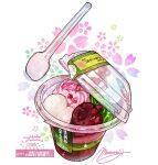cream cup disposable_cup floral_background food food_focus food_request highres momiji_mao original simple_background sparkle spoon translation_request utensil white_background