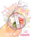 cherry_blossoms cup dessert dumpling english_text floral_background food food_focus hands highres holding holding_cup momiji_mao original pastry signature simple_background sparkle tree white_background