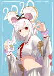 1girl 2020 animal animal_ears black_bow blush bow bow_hairband crop_top granblue_fantasy hair_ornament hairband hairclip highres holding holding_animal long_sleeves looking_at_viewer midriff mouse mouse_ears parted_lips red_eyes red_hairband ruwo_benzen shadow_puppet shirt short_hair skirt solo striped striped_bow vikala_(granblue_fantasy) white_hair white_shirt white_skirt wide_sleeves