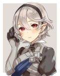1girl armor closed_mouth corrin_(fire_emblem) corrin_(fire_emblem)_(female) fire_emblem fire_emblem_fates grey_background haru_(nakajou-28) highres pointy_ears red_eyes short_hair simple_background solo upper_body white_hair