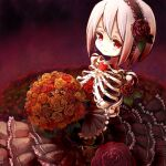 159cm 1girl black_skirt bouquet closed_mouth field flower flower_field gloria_(159cm) hair_flower hair_ornament hairband heart holding holding_bouquet layered_skirt looking_at_viewer orange_flower orange_rose original red_eyes red_flower red_rose ribs rose skeleton skirt solo