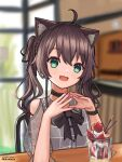 1girl :3 absurdres animal_ears artist_name bangs black_bow black_choker blurry blurry_background blush bow brown_hair cat_ears choker cowlick eyebrows_visible_through_hair green_eyes hands_together head_tilt highres hololive kemonomimi_mode looking_at_viewer muramasa_dash natsuiro_matsuri open_mouth parfait pink_nails sitting smile solo twintails virtual_youtuber
