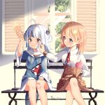 2girls :o ahoge bandaid bandaid_on_knee bangs bench blonde_hair blue_hair blush breasts collared_shirt crossed_legs english_commentary food food_on_face gawr_gura hair_behind_ear hair_ornament hand_on_own_thigh high-waist_skirt highres holding holding_food hololive hololive_english ice_cream ice_cream_cone kuri_(animejpholic) monocle_hair_ornament multicolored_hair multiple_girls open_mouth plaid plaid_skirt shirt shirt_tucked_in silver_hair sitting skirt small_breasts streaked_hair tongue tongue_out twitter_username two_side_up v-shaped_eyebrows virtual_youtuber watson_amelia white_shirt window wiping_face