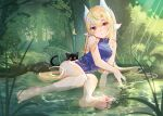 1girl animal_ears bangs bare_legs bare_shoulders barefoot black_cat blonde_hair blue_dress blush breasts cat china_dress chinese_clothes commentary_request day dress eyebrows_visible_through_hair eyes_visible_through_hair feet forest highres long_hair looking_at_viewer lying moyamoya_(moya11158375) multicolored multicolored_eyes nature on_side original partially_submerged plant pond sidelocks signature small_breasts solo toes tree very_long_hair violet_eyes water yellow_eyes