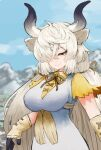 1girl adeshi_(adeshi0693119) animal_ears black_horns breasts brown_eyes brown_neckwear closed_mouth day dress extra_ears eyelashes gloves grey_horns hair_between_eyes hair_over_one_eye half-closed_eye highres horns kemono_friends kemono_friends_3 large_breasts long_hair looking_at_viewer mountainous_horizon multicolored_horns neck_ribbon outdoors ox_ears ox_girl ox_horns ribbon seductive_smile shirt short_sleeves sidelocks smile solo twintails underbust upper_body very_long_hair white_dress yak_(kemono_friends) yellow_shirt