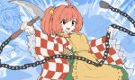 1girl apron bell buttons chain character_name checkered clothes_writing eyebrows_visible_through_hair eyes_visible_through_hair hair_bell hair_ornament holding holding_weapon japanese_clothes kikoka_(mizuumi) kimono kusarigama long_hair motoori_kosuzu open_mouth red_eyes redhead romaji_text sickle sketch smile solo teeth touhou twintails two_side_up weapon