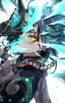 1boy absurdres ahoge armor artist_name bead_necklace beads commentary_request constricted_pupils covered_face energy face gem genshin_impact gloves green_hair half-closed_eyes hand_up highres holding holding_mask jewelry male_focus mask mimoontk necklace one_eye_covered refraction short_hair_with_long_locks shoulder_armor solo spikes xiao_(genshin_impact) yellow_eyes