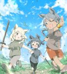 3girls absurdres alternate_costume alternate_hairstyle animal animal_ears bird black_hair black_rhinoceros_(kemono_friends) blonde_hair blue_sky bracelet braid braided_ponytail child day drill_hair extra_ears fisheye grey_eyes grey_eyes grey_hair hair_between_eyes hakoneko_(marisa19899200) highres holding holding_hands indian_rhinoceros_(kemono_friends) jewelry kemono_friends long_hair looking_at_another medium_hair multiple_girls one_eye_closed open_mouth outdoors outstretched_arm pants rhinoceros_ears running scratches shirt shoes short_sleeves shorts sidelocks sky smile sword tail tan tearing_up toy_sword twin_drills two_side_up v-shaped_eyebrows weapon white_rhinoceros_(kemono_friends) wind wooden_sword younger