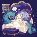 1boy :< ahoge animal artist_name azul_ashengrotto blanket blush_stickers bubble chibi closed_eyes closed_mouth eel eyewear_removed fish grey-framed_eyewear highres light_blue_hair lying male_focus mole mole_under_mouth mouth_hold on_bed painting_(object) picture_frame pillow short_hair sleeping solo tagme thought_bubble twisted_wonderland under_covers yumenouchi_chiharu