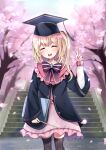 1girl ^_^ absurdres alternate_costume bangs black_legwear blonde_hair blue_jacket blush book bow bowtie cherry_blossoms closed_eyes dress eyebrows_visible_through_hair feet_out_of_frame flandre_scarlet graduation hat highres holding holding_book holding_wand jacket kneehighs medium_hair mortarboard one_side_up outdoors petticoat pink_dress purple_bow purple_neckwear satori_(pixiv) solo standing striped touhou tree vertical_stripes wand |d