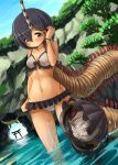 159cm 1girl arch ass_visible_through_thighs bead_bracelet beads bikini black_hair blue_sky bobbit_worm bracelet closed_mouth day dutch_angle hair_tucking hand_up horns isome_meme_(159cm) jewelry looking_at_viewer medium_hair navel original outdoors prehensile_tail single_horn sky smile solo striped striped_horns swimsuit tail torii veins vertical-striped_bikini vertical_stripes violet_eyes wading wet