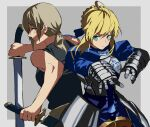 2girls ahoge alternate_eye_color armor armored_dress artoria_pendragon_(all) bare_shoulders blonde_hair breastplate breasts chainsaw_man crossover dual_wielding excalibur_(fate/stay_night) expressionless eyebrows_visible_through_hair fate/stay_night fate_(series) gauntlets green_eyes hair_ribbon highres holding holding_sword holding_weapon long_hair medium_breasts multiple_girls ponytail puffy_sleeves quanxi_(chainsaw_man) red_eyes ribbon saber sdf1313 shirt_tucked_in silver_hair sword tank_top weapon