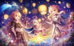 1boy 2girls :d aerial_fireworks aether_(genshin_impact) ahoge bangs bare_shoulders blonde_hair boots braid braided_ponytail breasts brother_and_sister brown_gloves brown_pants brown_shirt cape commentary_request crop_top detached_sleeves dress elbow_gloves eyebrows_visible_through_hair fireworks floating genshin_impact gloves hayun highres lantern lantern_festival long_hair long_sleeves lumine_(genshin_impact) medium_breasts medium_hair multiple_girls ocean open_mouth paimon_(genshin_impact) pants partially_fingerless_gloves plant shirt siblings sidelocks sky_lantern smile sunset white_dress white_footwear white_gloves white_hair white_legwear