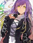 1girl bangs breasts closed_mouth commentary_request expressionless eyebrows_visible_through_hair gradient_hair hair_between_eyes hand_on_own_chest highres hijiri_byakuren juliet_sleeves krs_(kqrqsi) long_hair long_sleeves looking_at_viewer medium_breasts multicolored_hair puffy_sleeves purple_hair simple_background sleeves_past_wrists solo swept_bangs touhou upper_body white_background yellow_eyes