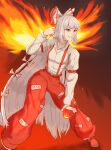 1girl absurdres baggy_pants bangs belt bow collared_shirt commentary commentary_request eyebrows_visible_through_hair fiery_wings fire fujiwara_no_mokou grin hair_bow hair_ribbon highres hime_cut hound_(ddda3110) long_hair long_sleeves ofuda pants pyrokinesis red_background red_eyes red_footwear red_pants ribbon shirt shoes sidelocks silver_hair smile solo suspenders touhou very_long_hair white_hair white_shirt