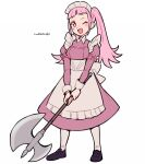 1girl artist_name axe do_m_kaeru fire_emblem fire_emblem:_three_houses full_body hilda_valentine_goneril holding holding_axe long_hair long_sleeves maid maid_headdress one_eye_closed open_mouth pink_eyes pink_hair simple_background solo twintails white_background white_legwear