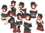 1girl ahegao bangs black_shirt blush breasts brown_headwear closed_mouth clothes_writing collarbone commentary_request cookie_(touhou) curled_fingers double_v english_text eyebrows_visible_through_hair eyes_visible_through_hair gloom_(expression) grin hair_between_eyes hair_lift hair_over_one_eye hat hecatia_lapislazuli ktgijgkgdusimn_(cookie) large_breasts looking_at_viewer looking_to_the_side looking_up multiple_girls off-shoulder_shirt off_shoulder open_mouth own_hands_together pose red_eyes red_skirt shirt short_hair simple_background skirt smile sy4 touhou upper_body v white_background