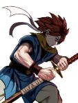 1boy angry belt blue_eyes chrono_trigger closed_mouth crono_(chrono_trigger) from_side headband highres holding holding_sword holding_weapon katana male_focus muscular muscular_male orange_hair pants peiroke scarf sheath short_hair short_sleeves solo spiky_hair sword tunic unsheathing weapon white_background wristband
