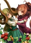 159cm 2girls :t ahoge animal_ears apple belt blush bottle breasts brown_belt closed_mouth curled_horns earrings embarrassed food fruit gran-chan_(159cm) grapes green_hair green_neckwear green_ribbon green_skirt high-waist_skirt horns huge_horns jacket jewelry large_breasts long_sleeves multiple_girls neck_ribbon one_eye_closed original ponytail red_apple red_eyes red_jacket ribbon shirt simple_background skirt smile tail white_background white_shirt wine-chan_(159cm) wine_bottle