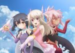 3girls black_hair blue_sky blush bridal_gauntlets brown_eyes chloe_von_einzbern closed_mouth clouds dark_skin dark_skinned_female day detached_sleeves fate/kaleid_liner_prisma_illya fate_(series) floating_hair gloves grin highres holding holding_staff illyasviel_von_einzbern layered_skirt leotard long_hair long_sleeves magical_girl midriff miniskirt miyu_edelfelt multiple_girls orange_neckwear outdoors pink_hair pink_shirt pink_sleeves ponytail purple_leotard purple_sleeves red_sleeves shirt silver_hair skirt sky sleeveless sleeveless_shirt smile staff very_long_hair white_gloves white_skirt