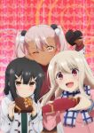 :d ;) bangs box chloe_von_einzbern closed_mouth coat eyebrows_visible_through_hair fate/kaleid_liner_prisma_illya fate_(series) floating_hair frown gift gift_box hair_between_eyes hair_bobbles hair_ornament hairclip hand_on_another's_head heart-shaped_box highres holding holding_box illyasviel_von_einzbern long_hair miyu_edelfelt multiple_girls one_eye_closed open_mouth pink_coat pink_hair plaid plaid_scarf red_background red_eyes scarf shiny shiny_hair silver_hair smile twintails upper_body valentine white_coat yellow_eyes