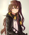 1girl black_jacket black_ribbon brown_eyes brown_hair buran_(22x) closed_mouth eyebrows_visible_through_hair girls_frontline gun h&k_ump hair_ornament holding holding_weapon jacket long_hair looking_at_viewer neck_ribbon open_clothes open_jacket ribbon scar scar_across_eye shirt simple_background solo submachine_gun ump45_(girls_frontline) weapon white_shirt