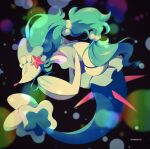 blurry closed_eyes closed_mouth commentary_request full_body gen_7_pokemon highres jacknaiff no_humans pokemon pokemon_(creature) primarina smile solo underwater white_eyelashes