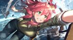 1girl bell blue_pants blue_sky blush breasts clenched_hand clenched_teeth clouds cloudy_sky commentary cosplay cowboy_shot day denim eyebrows_visible_through_hair falling glint green_eyes green_jacket gun hair_bell hair_between_eyes hair_ornament handgun hanging hikosan hololive jacket jeans large_breasts lips looking_up medium_hair nathan_drake nathan_drake_(cosplay) outdoors pants pink_hair sakura_miko shirt side_ponytail sky solo sweat teeth uncharted uncharted_2 virtual_youtuber weapon white_shirt x_hair_ornament