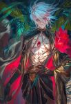 1boy blue_eyes chest_jewel choker earrings egawa_akira expressionless eyeshadow fate/apocrypha fate_(series) flower gem gloves gold hand_on_hip highres holding holding_flower jewelry karna_(fate) makeup male_focus red_eyeshadow short_hair single_earring skinny solo spiked_choker spikes white_hair