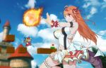 1girl ahoge block braid breasts castle clouds cloudy_sky cosplay dragon_horns dragon_tail fire_flower fireball hololive horns idol_clothes kiryuu_coco large_breasts long_hair mario mario_(cosplay) mario_(series) navel orange_hair pleated_skirt skirt sky super_mario_all-stars tail thigh_strap waon_(artist) wrist_cuffs