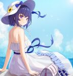 1girl absurdres alternate_costume back bag bare_shoulders benghuai_xueyuan blue_hair blue_ribbon blue_sky breasts clouds day dress eyebrows_visible_through_hair flower hat hat_flower high_heels highres honkai_(series) honkai_impact_3rd looking medium_breasts multicolored_hair nail_polish outdoors purple_hair ribbon seele_vollerei shoes_removed shorts sitting sky smile solo strapless strapless_dress sun_hat sunflower taw_(993004677) white_dress white_flower white_footwear yellow_flower